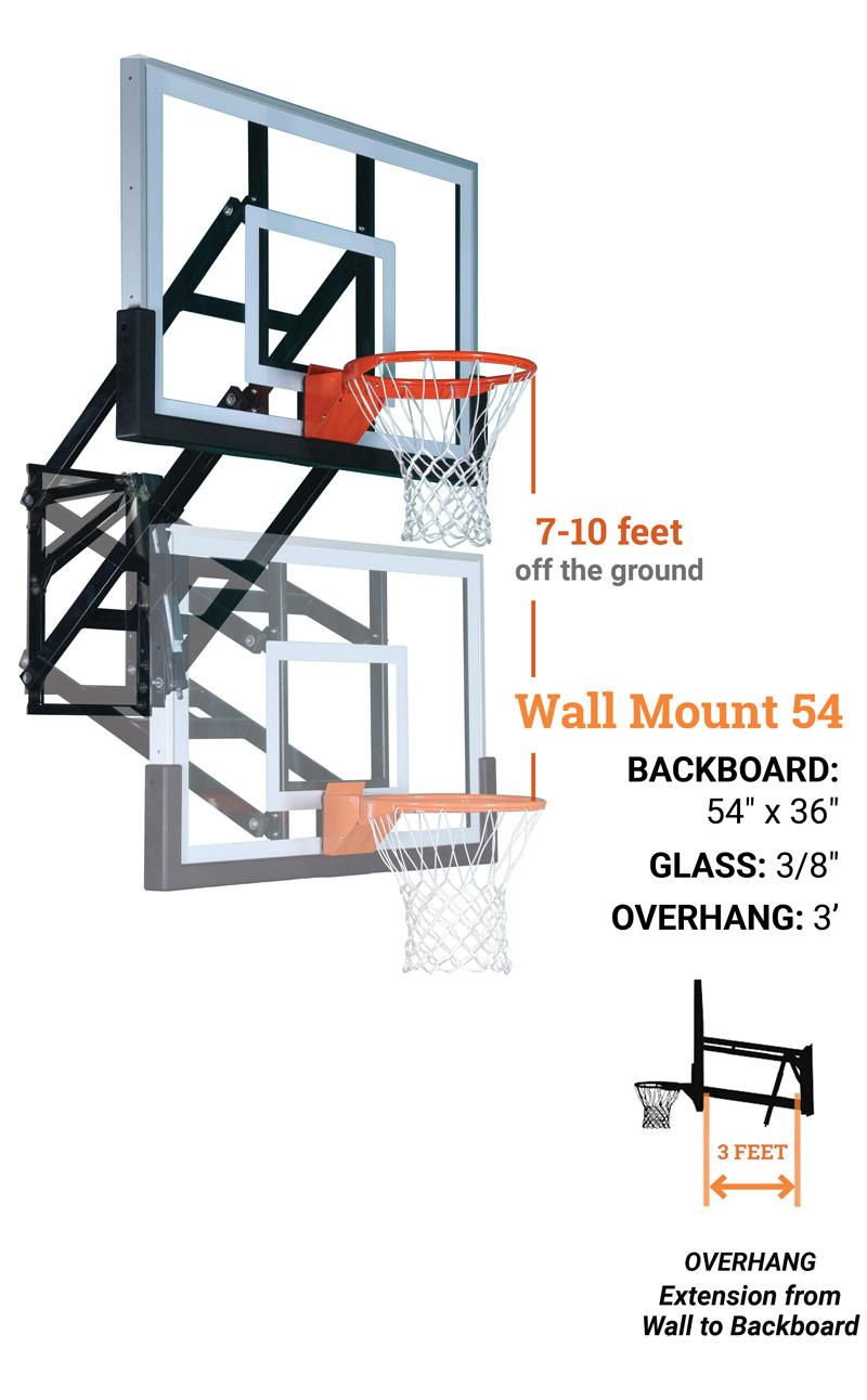 wall mount 54 basketball hoop system final - WALL MOUNT WM54